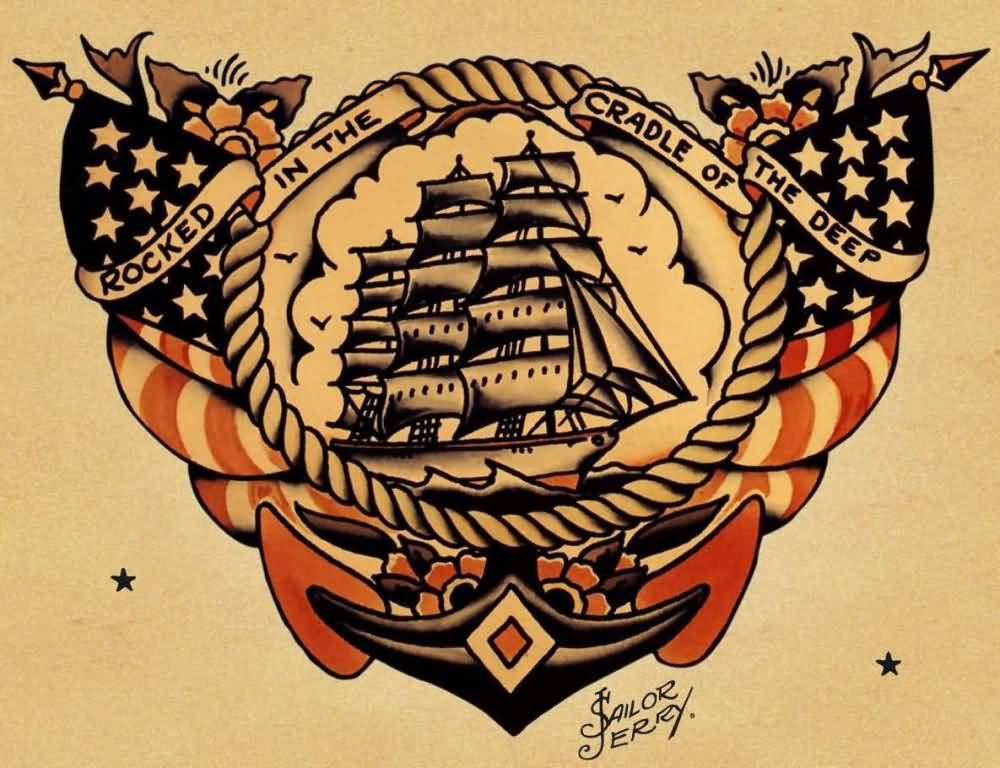 Old School Amazing Pirate Ship Rope Banners Anchor Stencil Tattoo