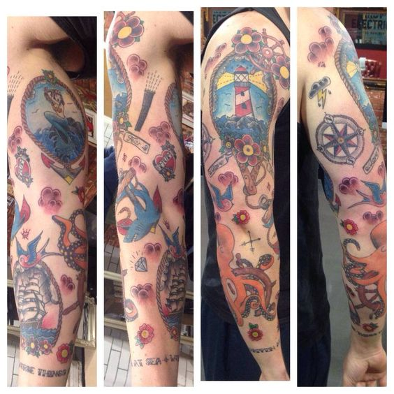 Old School Anchor With Pirate Ship And Flower Tattoo