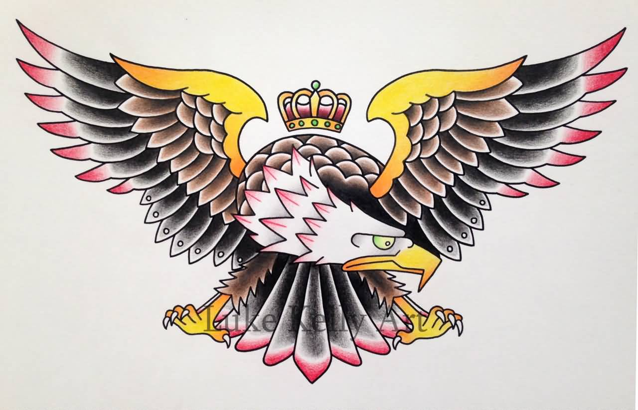 Old School Eagle With Crown Tattoo Stencil