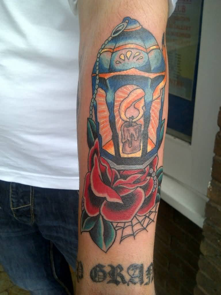 Old School Flower With Lantern Tattoo