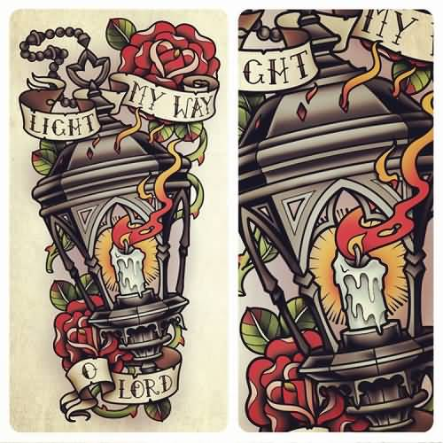 Old School Nice And Simple Lantern Tattoo Design With Banner And Flower