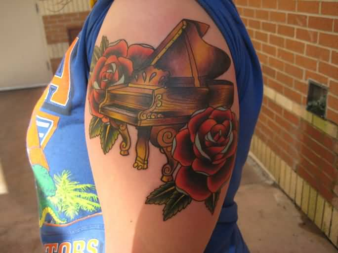 Old School Nice RED Roses With Amazing Half Grand Piano Tattoo