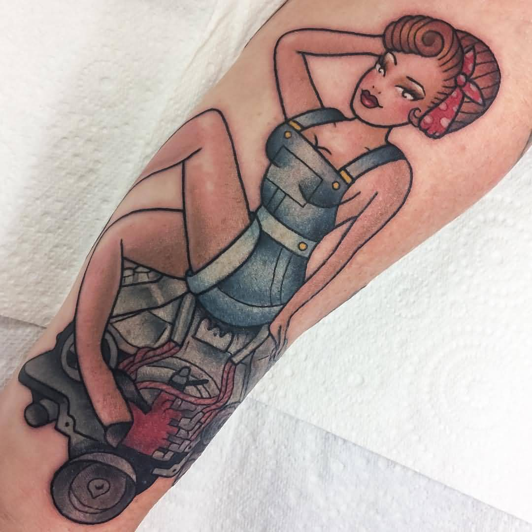 Old School Pin Up Mechanic Girl Tattoo Design