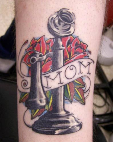 Old School Rose With Nice Mom Banner Tattoo