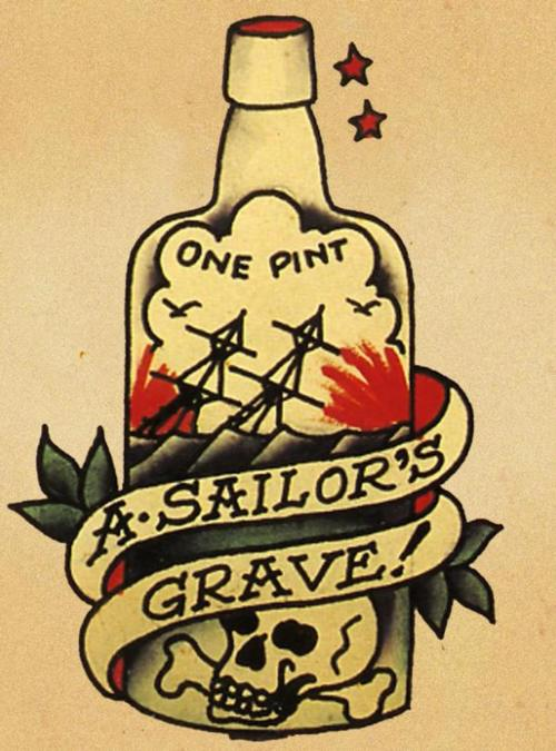 Old School Sailor Grave Bottle Tattoo Stencil