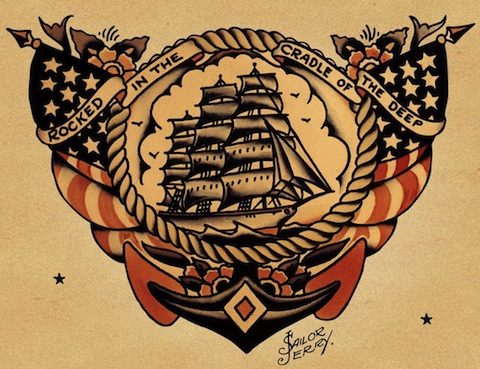 Old School Ship With Navy Anchor Tattoo Design