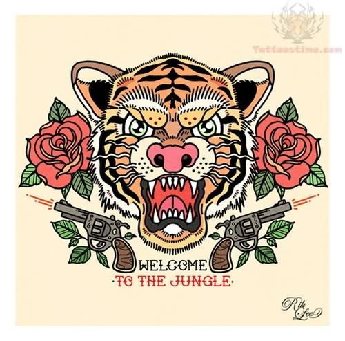Old School Tattoo Of Nice Roaring Tiger Face With Red Roses