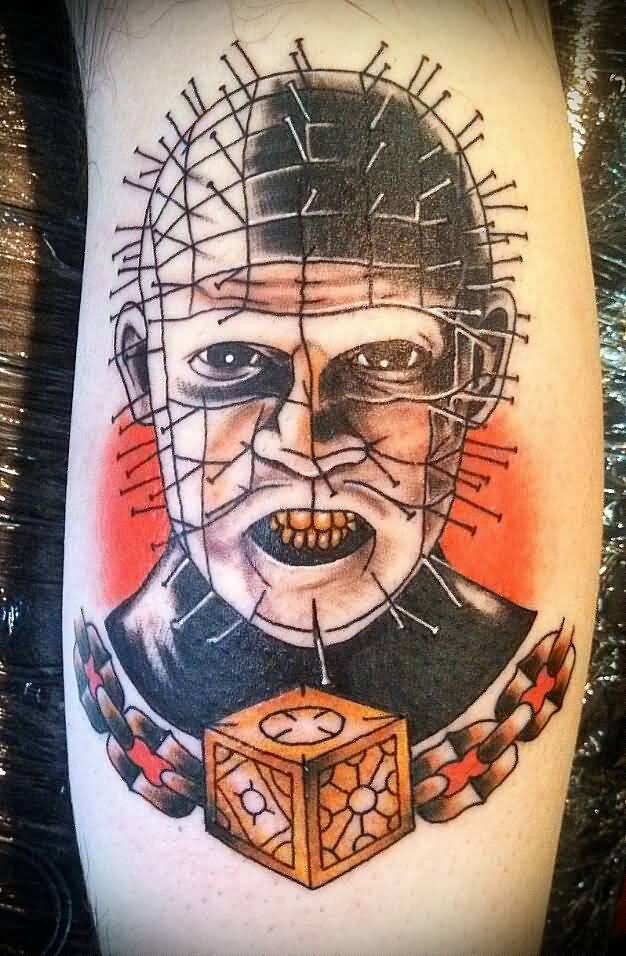 Old Simple Pinhead with Cube Tattoo