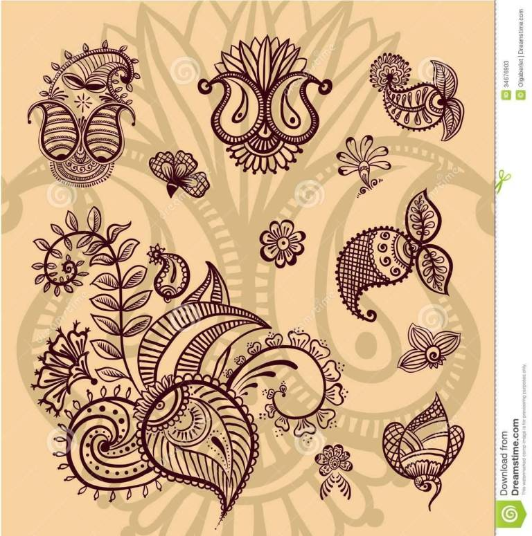 Old Staff Paisley Pattern Tattoo Stencil