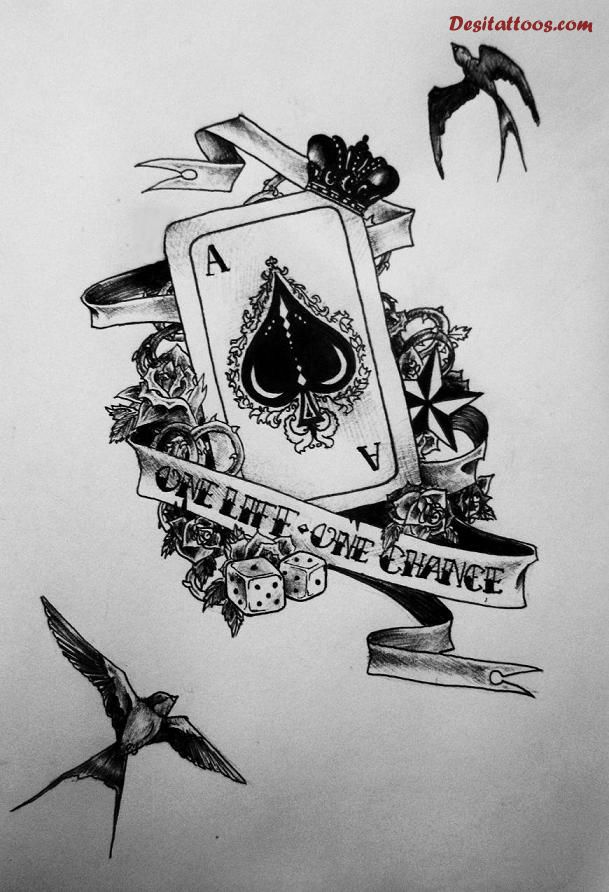 One Life One Chance Nice Old School Ace Card Tattoo
