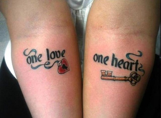 One Love One Heart Lock Key Tattoo On Forearm