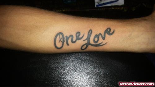 One Love Text Grey Ink Tattoo On Forearm