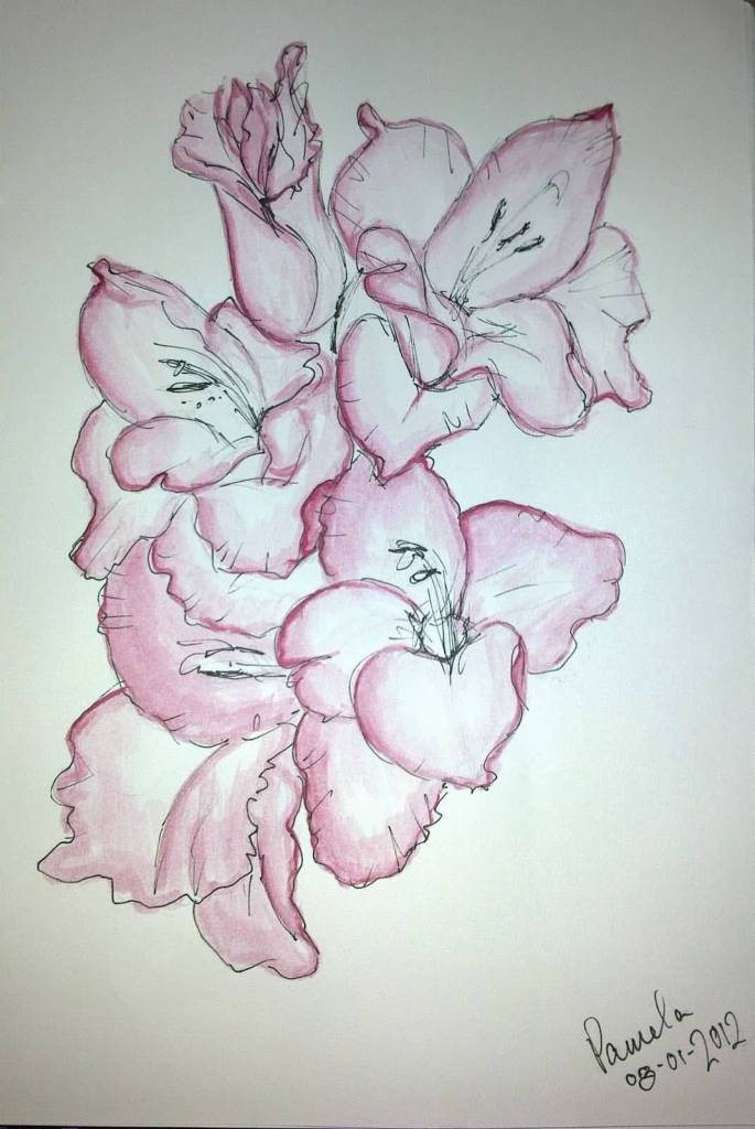 One More Outstanding Gladiolus Flower Tattoo Design Stencil