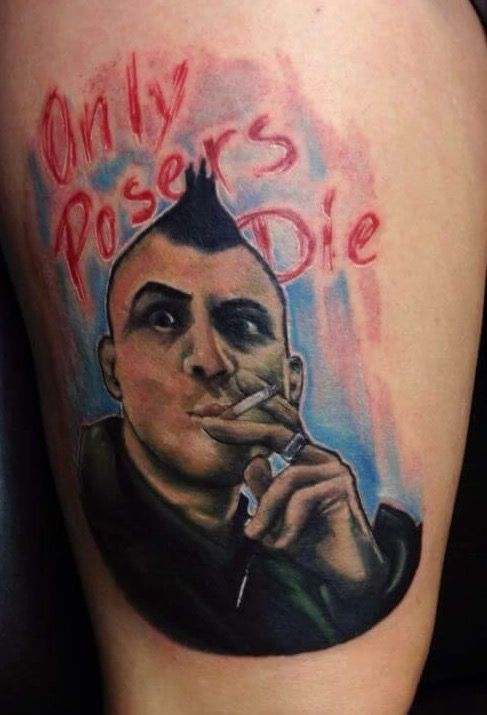 Only Posers Die Punk Men Face Tattoo