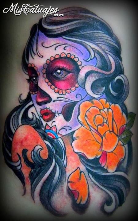 Orange Flower With Nice Catrina Tattoo Of Face