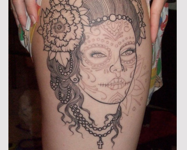 Outline Ink Girl Latino Face Tattoo Design Make On Thigh