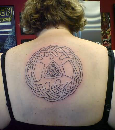 Outline Ink Girl Upper Back Simple Pagan Tattoo