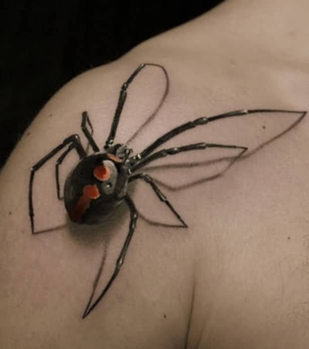 Outstanding 3D Black Widow Spider Tattoo Design On Right Shoulder