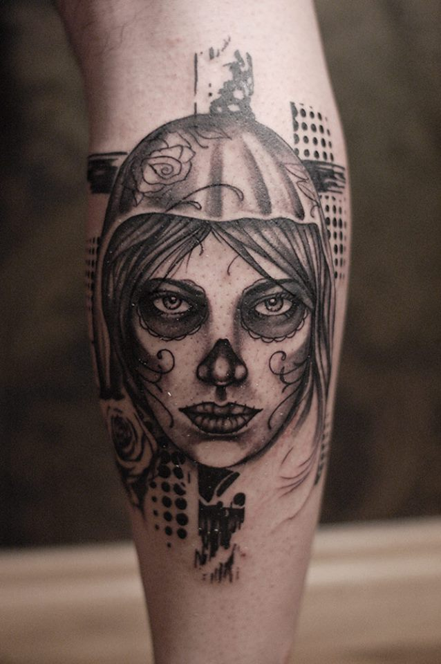 Outstanding And Amazing Forearm Catrina Tattoo Of Girl Face