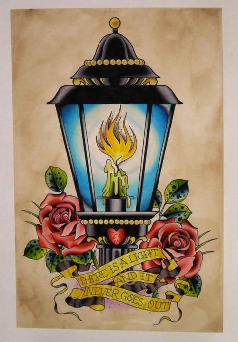 Outstanding Antique Lantern Tattoo Stencil With flower