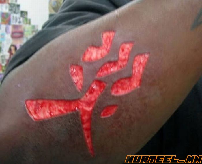 Outstanding Famous Scarification Chinese Letters Tattoo