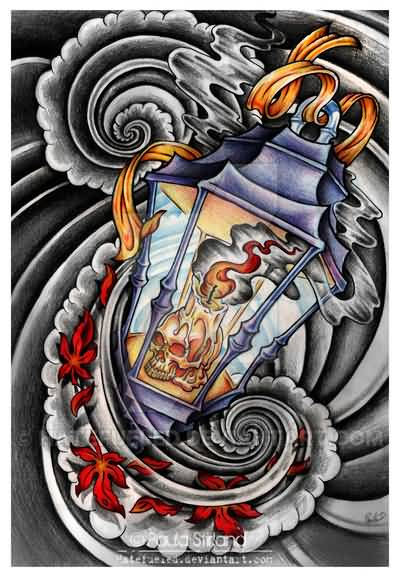 Outstanding Lantern Tattoo Design