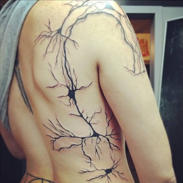 Outstanding Neuron Science Network Tattoo On Girl Back