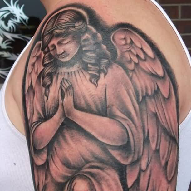 Outstanding Praying Angel Tattoo Design Idea On Shoulder