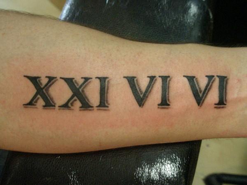 Outstanding Roman Numbers Tattoo Design Idea