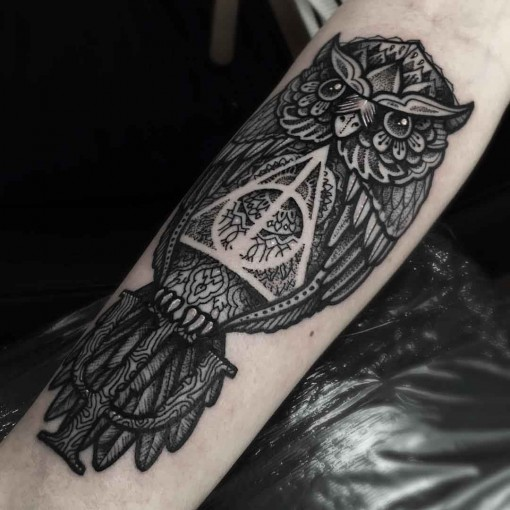 Owl Nice Hallows Tattoo Design For Forearm