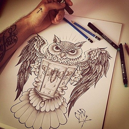 Owl With Victorian Lantern Tattoo Design Idea