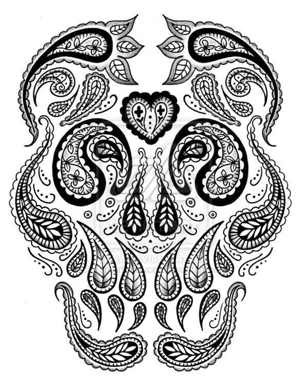 Paisley Pattern Style Amazing Skull Tattoo Design