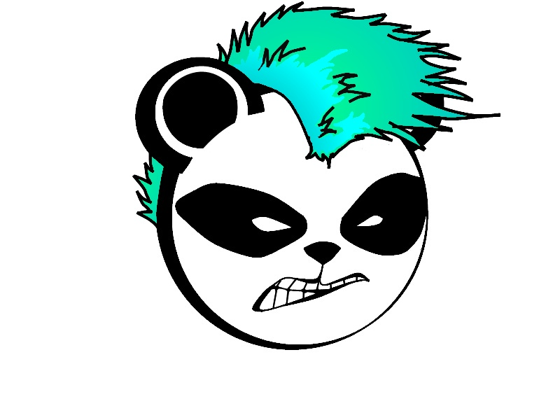 Panda Angry Face Punk Tattoo Stencil