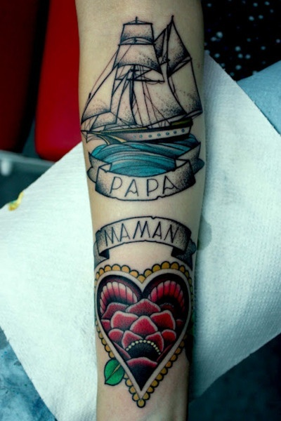 Papa Mama Love Heart Banner With Pirate Ship Tattoo