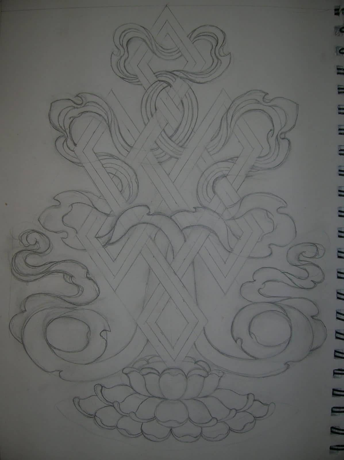 Pencil Work Nice Endless Knot Tattoo Design With Flower