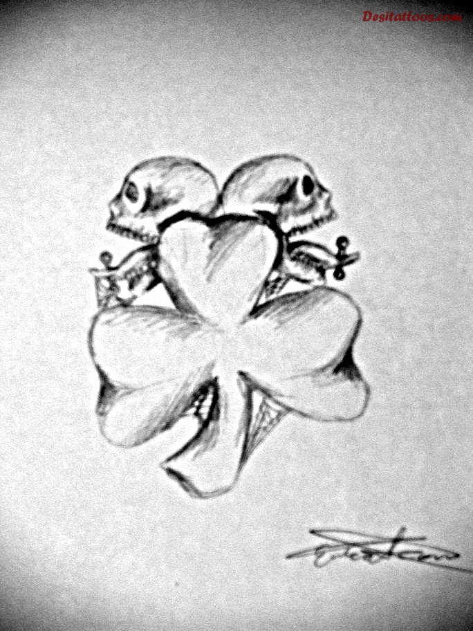 Pencil Work Simple Shamrock Tattoo Of Skull