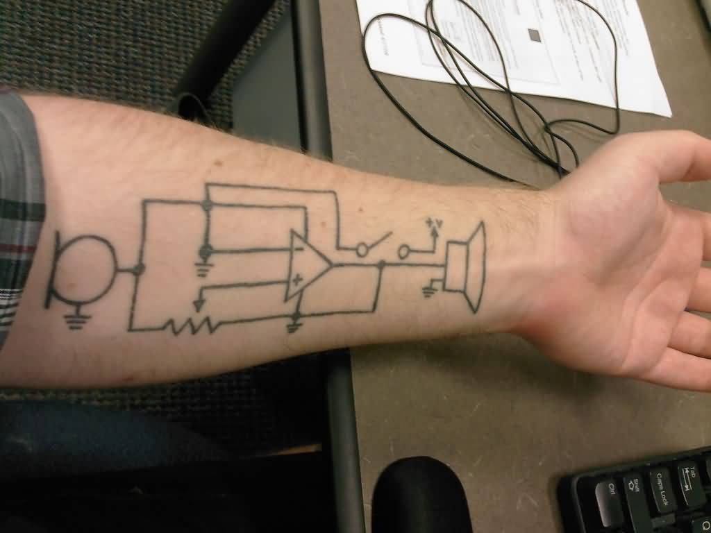 Physics Circuit Tattoo Design Make On Forearm