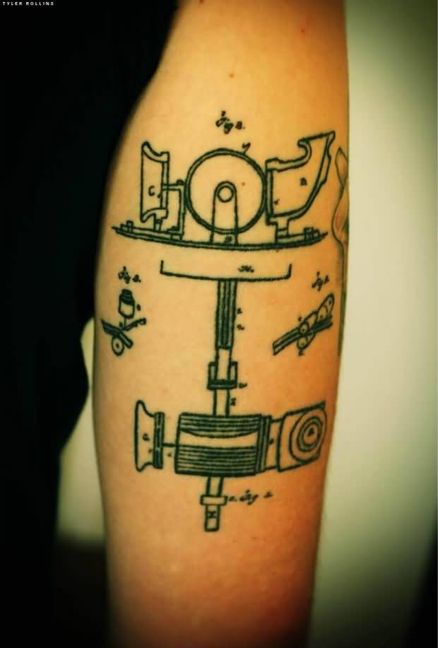 Physics Mr Edison Phonography Tattoo On Back Sleeve