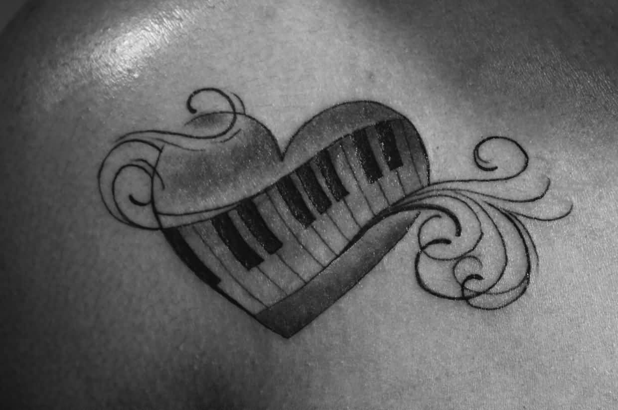 Piano Keys Nice Heart Tattoo