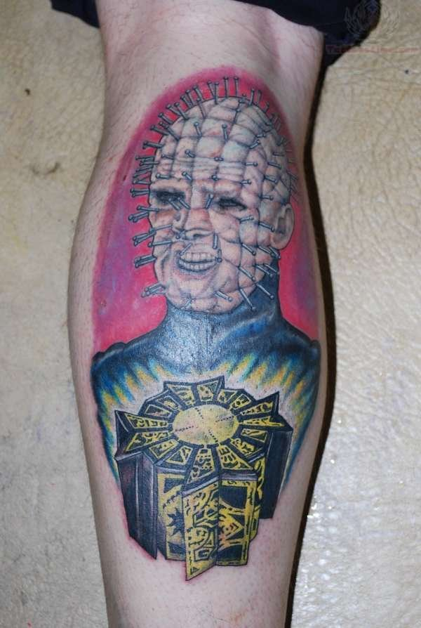Pinhead Cube With Face Tattoo Design Idea