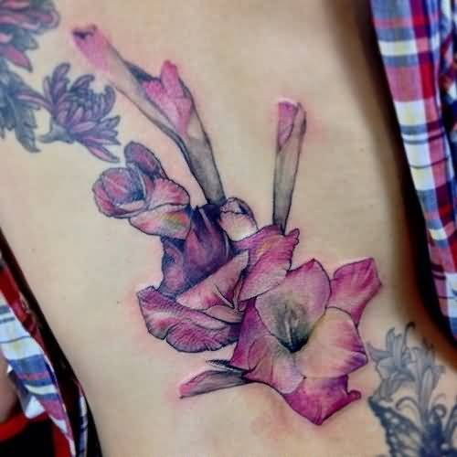 Pink Nice One Gladiolus Flower Tattoo Design Idea