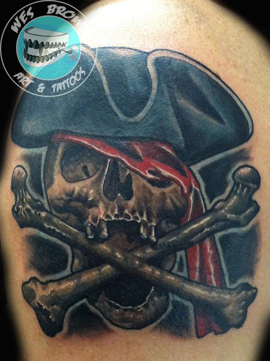 Pirate Jolly Roger Skull With Bones Tattoo