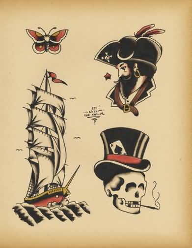 Pirate Ship And Men Face With Old School Skull Tattoo
