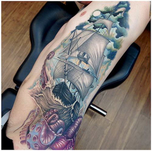 Pirate Ship With Nice Sea Creature Octopus Tattoo On Rib Side