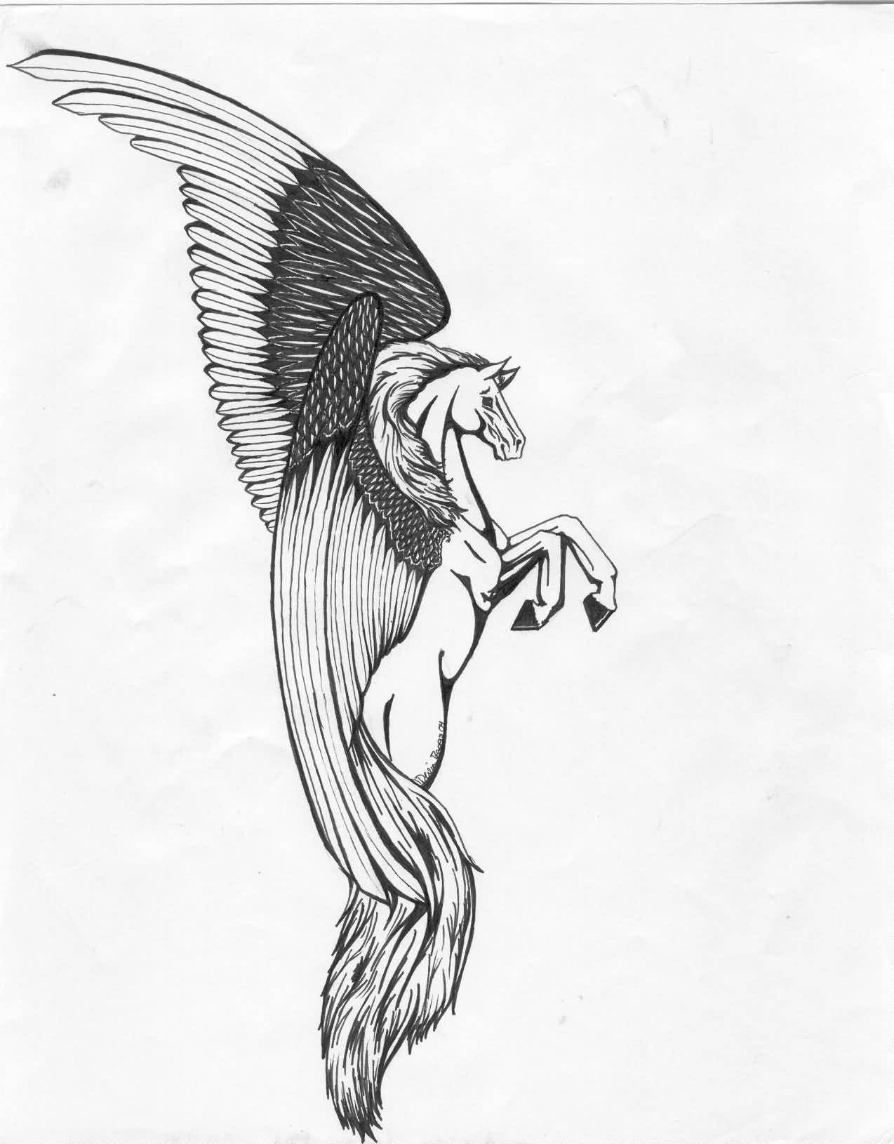 Pishkeen Design A Simple Pegasus Tattoo Design Stencil