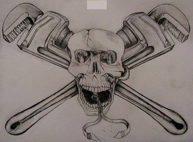 Plumber Tools Amazing Jolly Roger Tattoo