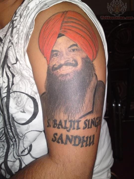 Portarit Face Of Punjabi Baljit Singh Sandhu Tattoo