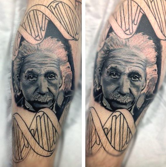 Portrait Awesome Einstine Face With Science DNA Tattoo