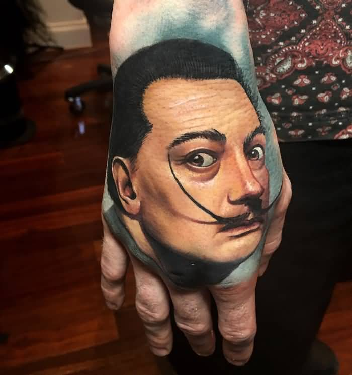 Portrait Famous Salvador Dali Big Mustache Historical Tattoo