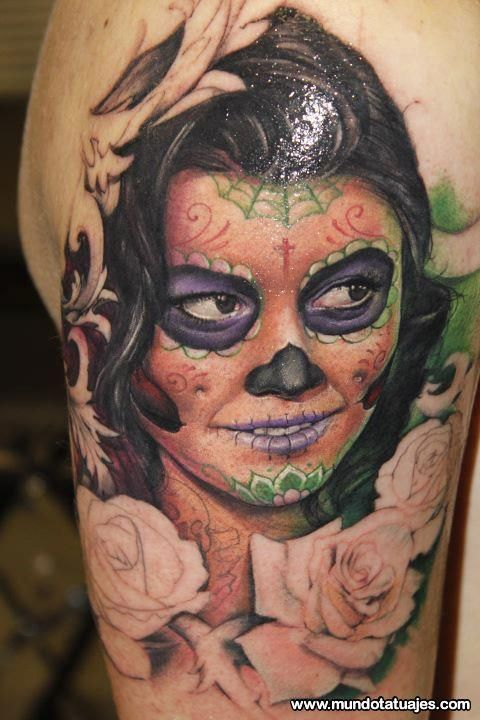 Portrait Nice And Amazing Catrina Face With Rose Flowers Tattoo